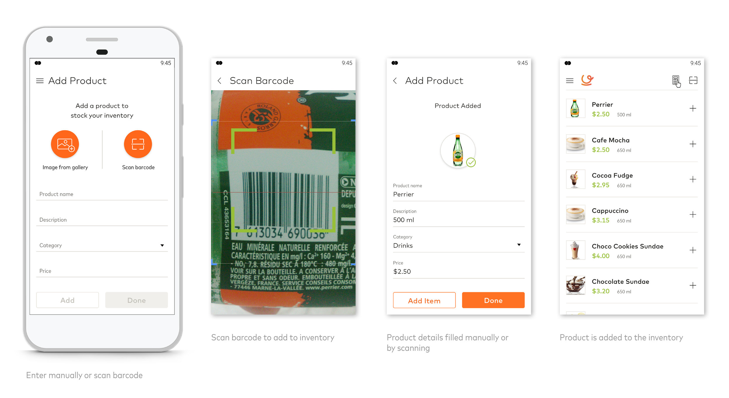 Merchants can either add product manually or by scanning barcode