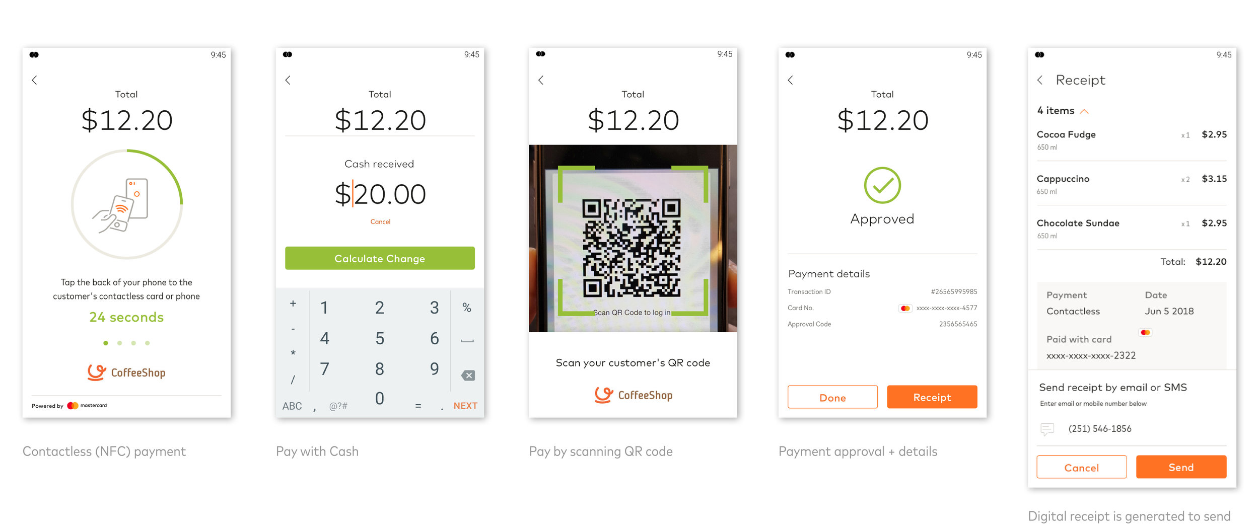 These include the key screens for each payment acceptance method (Contactless, Cash, Scan QR)