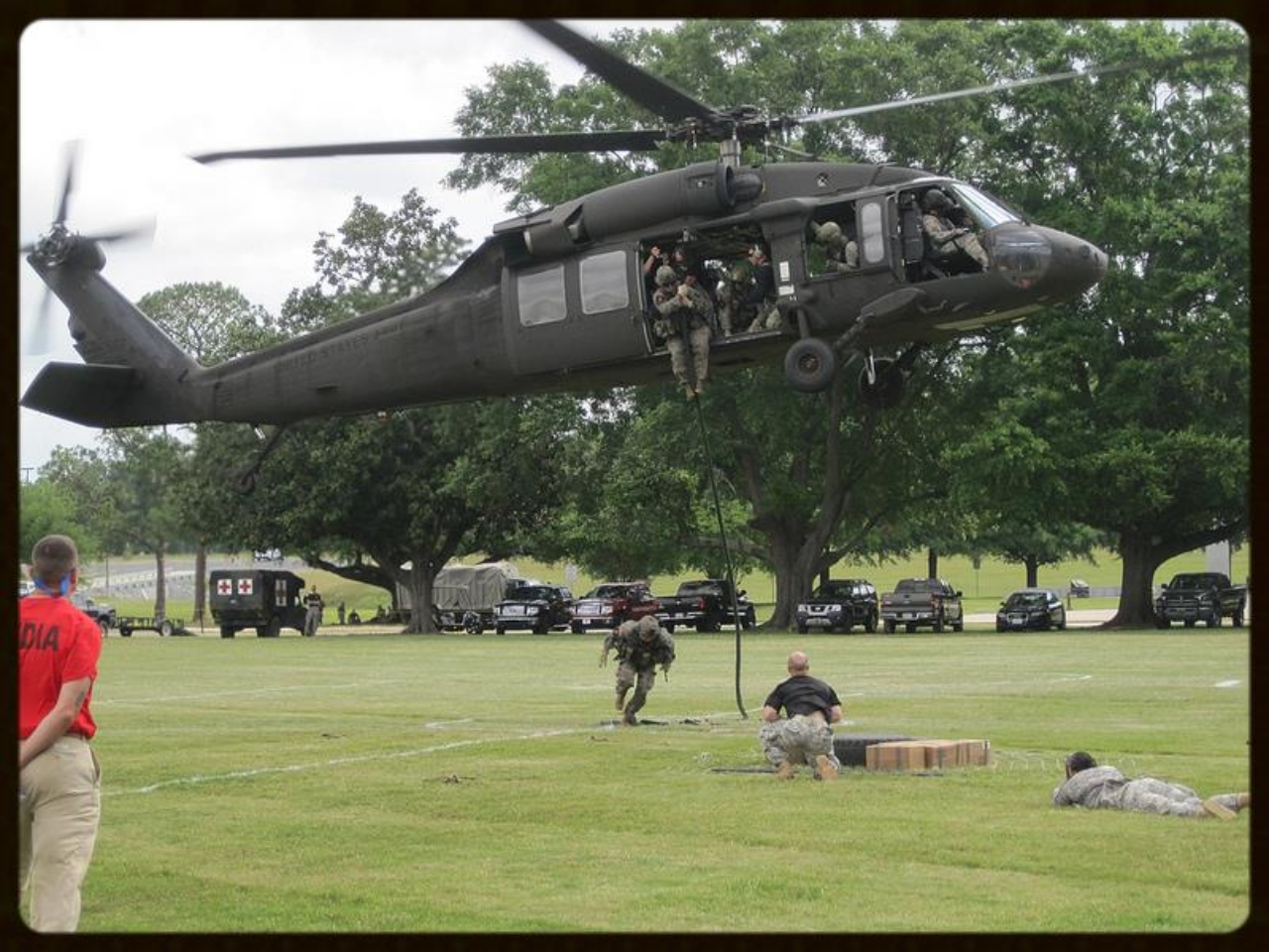Sunday, April 15, 2012. Rangers fast roping from a UH-60 Black Hawk helicopter, Fort Benning, Georgia.