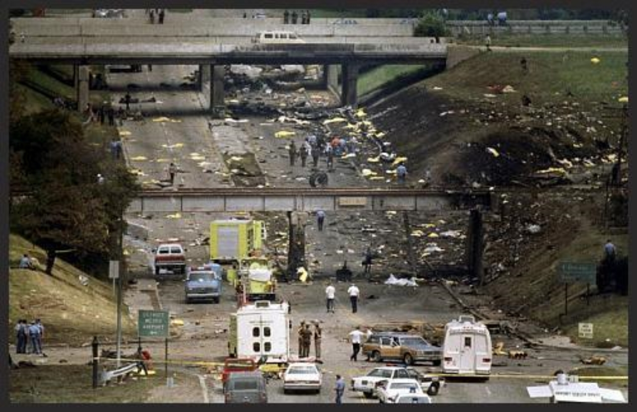 Sunday, August 16, 1987.  Northwest Flight 255  outside Detroit Metro Airport. Retired but having a police radio I responded to the evening crash. Six crewmembers along with 149 passengers and two motorists were killed. One 4-year-old miraculously survived, but she lost her parents and 6-year-old brother. Officers from every department responded and I searched for survivors with my brother,  Richard , a corporal with Dearborn PD, but found nothing other than flames and carnage, much grotesquely stuck on I-beams underneath the I-94 bridge. That was the last time I did police work.   I ended my law enforcement career at the site of the second most disastrous airplane crash in US history,   just as I had begun my combat soldiering career in the biggest battle of the Vietnam War--the Tet Offensive. Both times were at night, accompanied by men in uniform, surrounded by indescribable human carnage.
