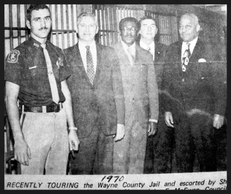 Tuesday, July 14, 1970, with politicians at the Wayne County Jail