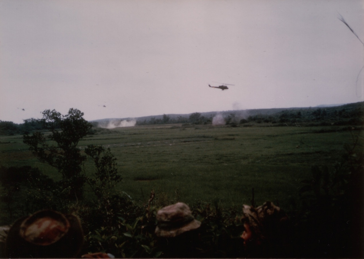 Monday, April 1, 1968. Helicopters rocketing and machine gunning the enemy