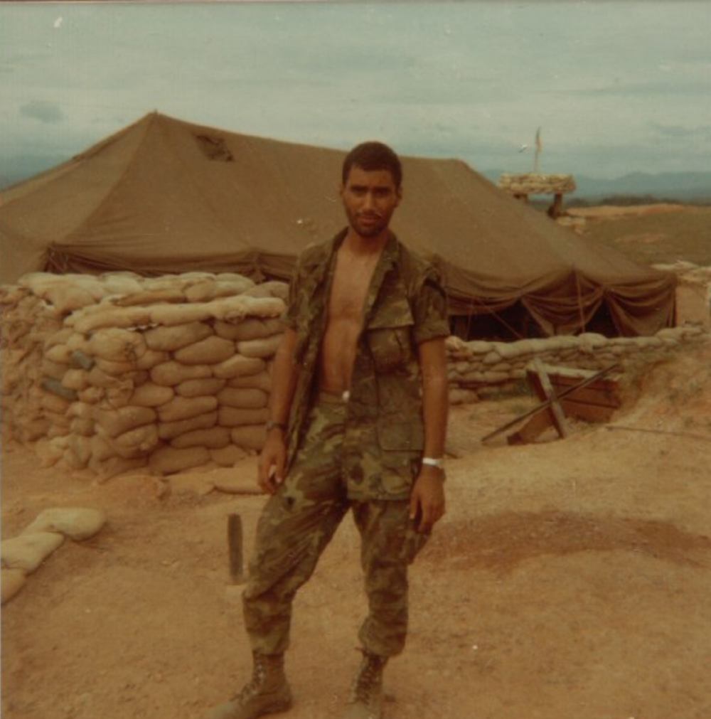 Sgt. Ankony at LZ Betty. The belt I'm wearing I removed from the NVA sniper