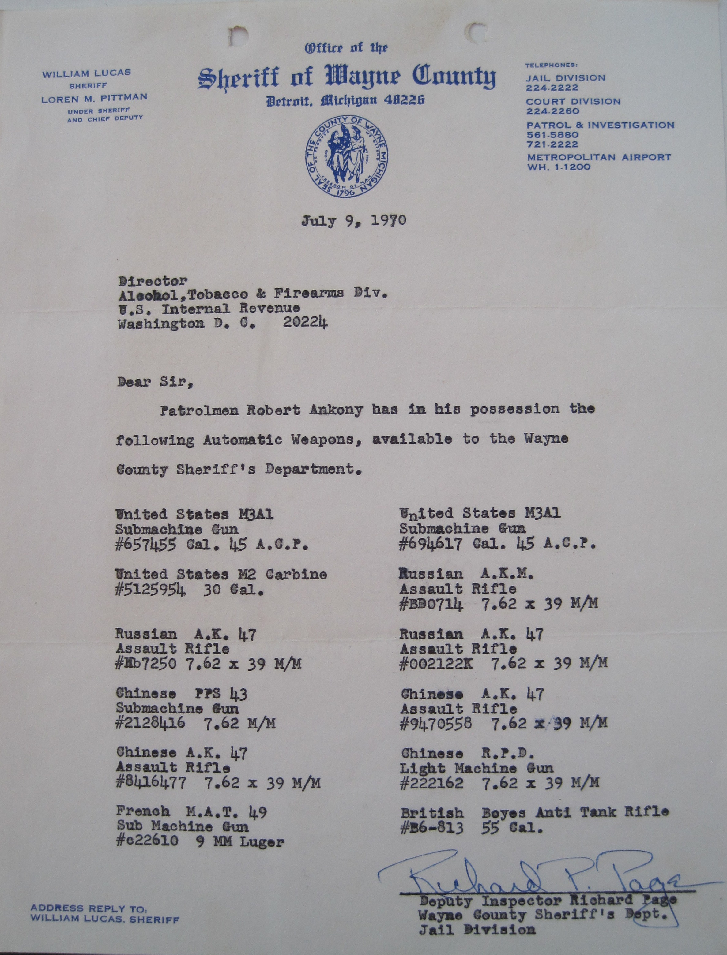 Thursday, July 9, 1970, sheriff's department letter citing weapons