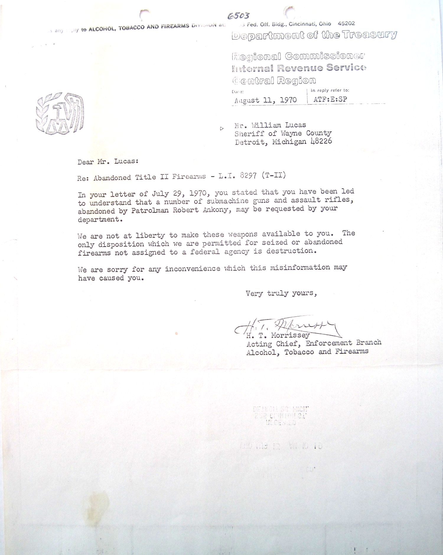 August 1970, ATF reply