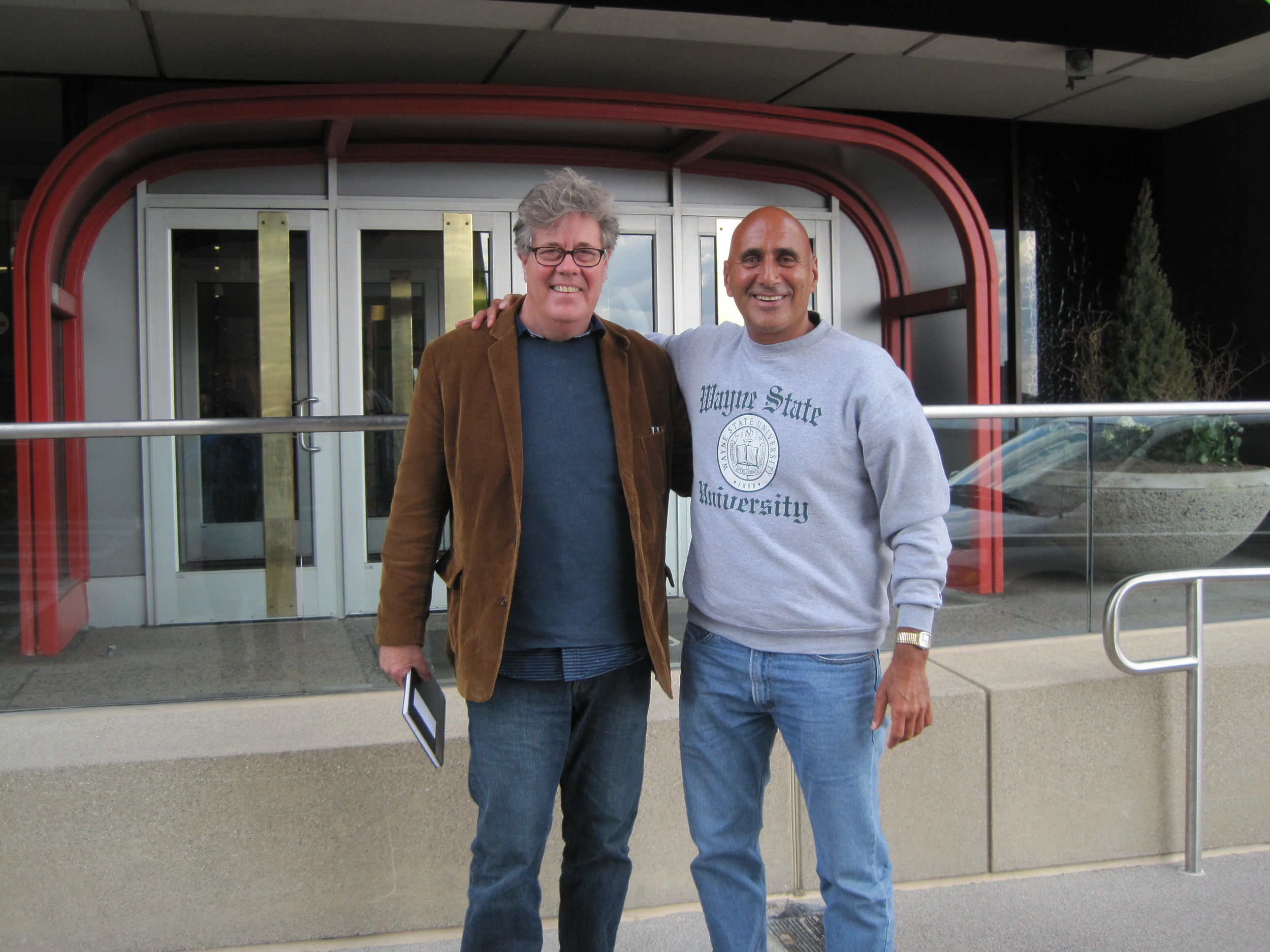 Saturday, May 3, 2014. David Maraniss and me at the Marriott Renaissance Center, Detroit