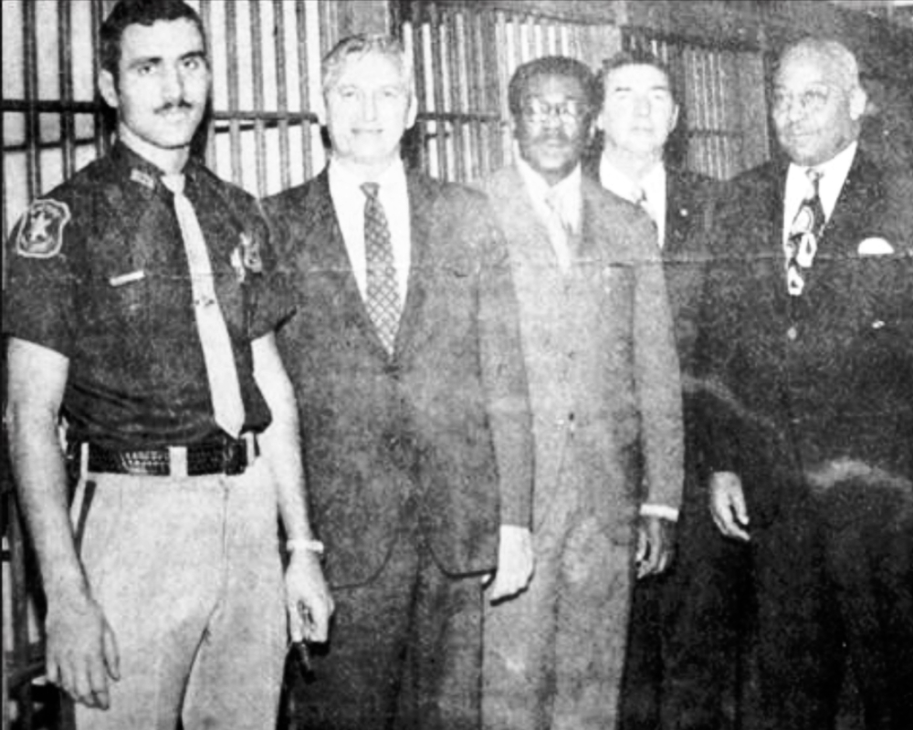 July 1970. Escorting politicians at the county jail