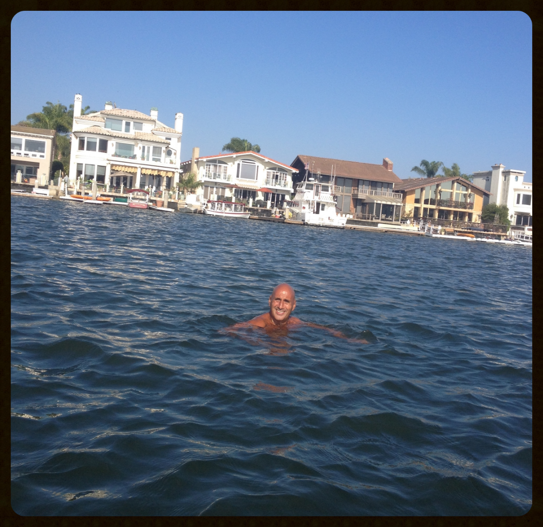 Thursday, September 24, 2015, swimming in  Huntington Harbour , Huntington Beach, California.