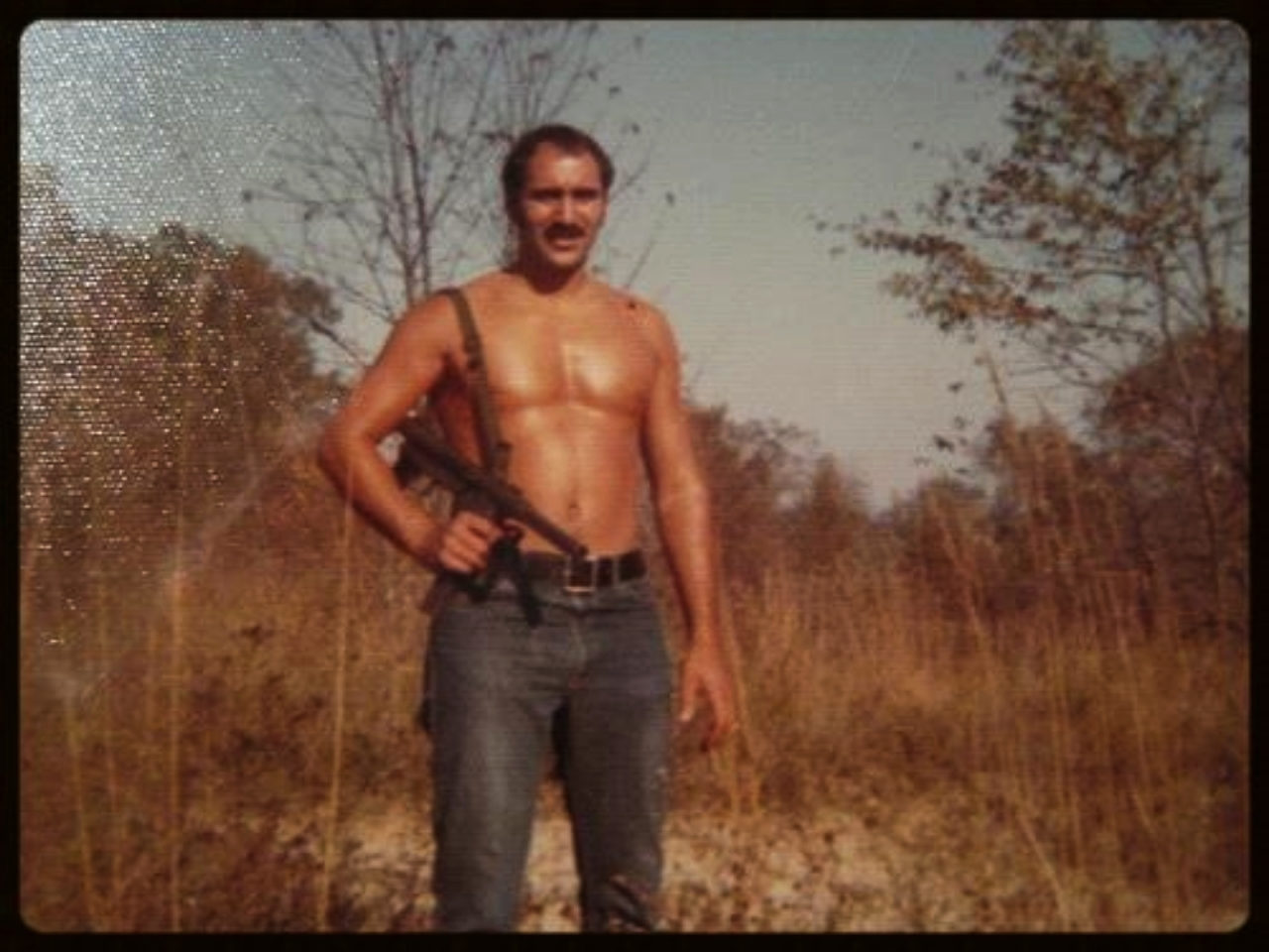 Saturday, October 26, 1974. Enjoying the sun with a 9mm S&W Model 76 submachine gun.