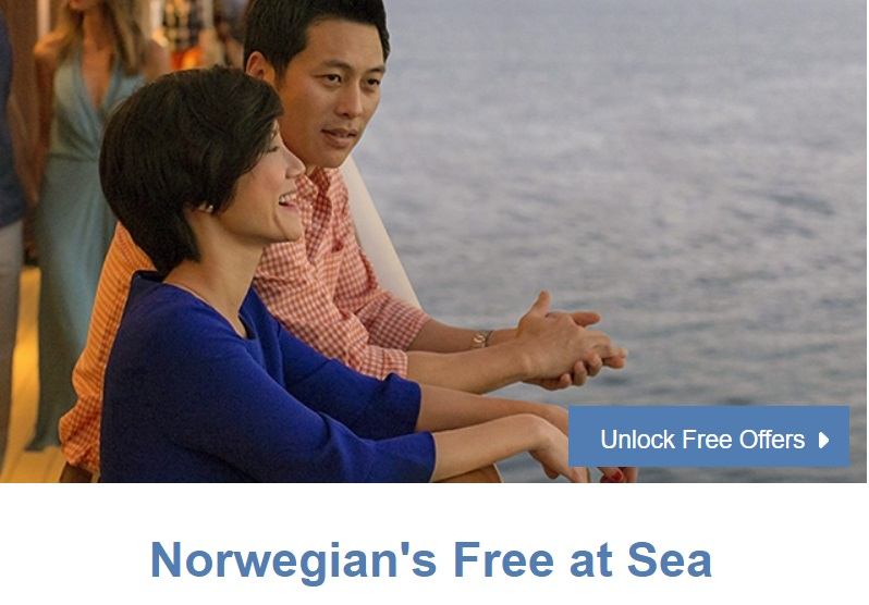 Choose up to 6 FREE offers! With up to $100 on board credit per stateroom, you won't want to miss this.  Contact us  to find out more!