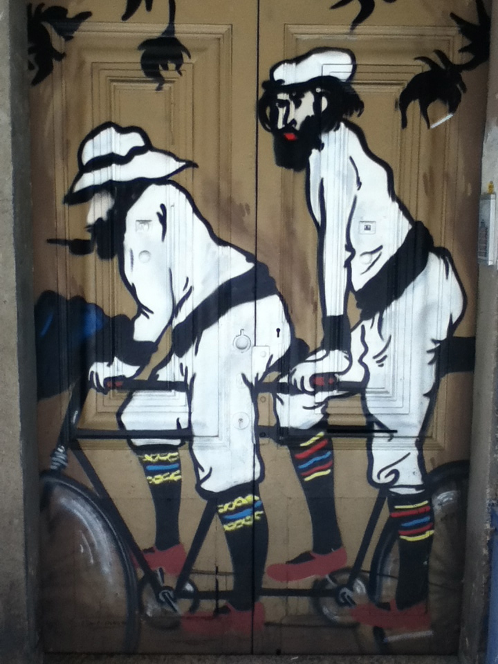 The commute I've always wanted, depicted as street art in Barcelona.