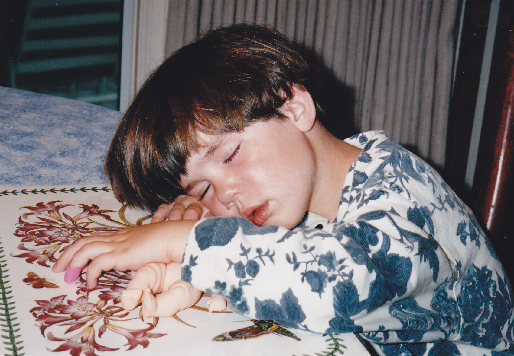 Little Sister demonstrates the perils of improper scheduling by falling asleep at the dinner table (circa 1996). I'm sure she got much better at sleep management in college.
