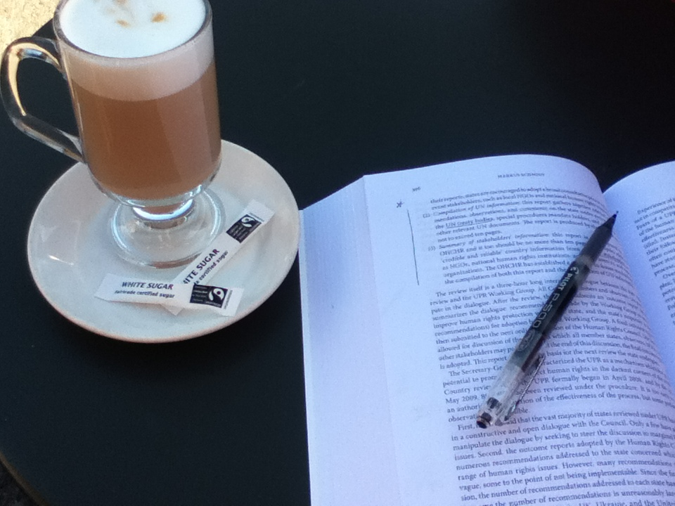 Taking notes and drinking coffee long before that essay is due.