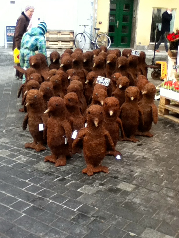 Holidays far from home can be confusing. For example: these inexplicable Christmas penguins, as seen in Copenhagen last year.