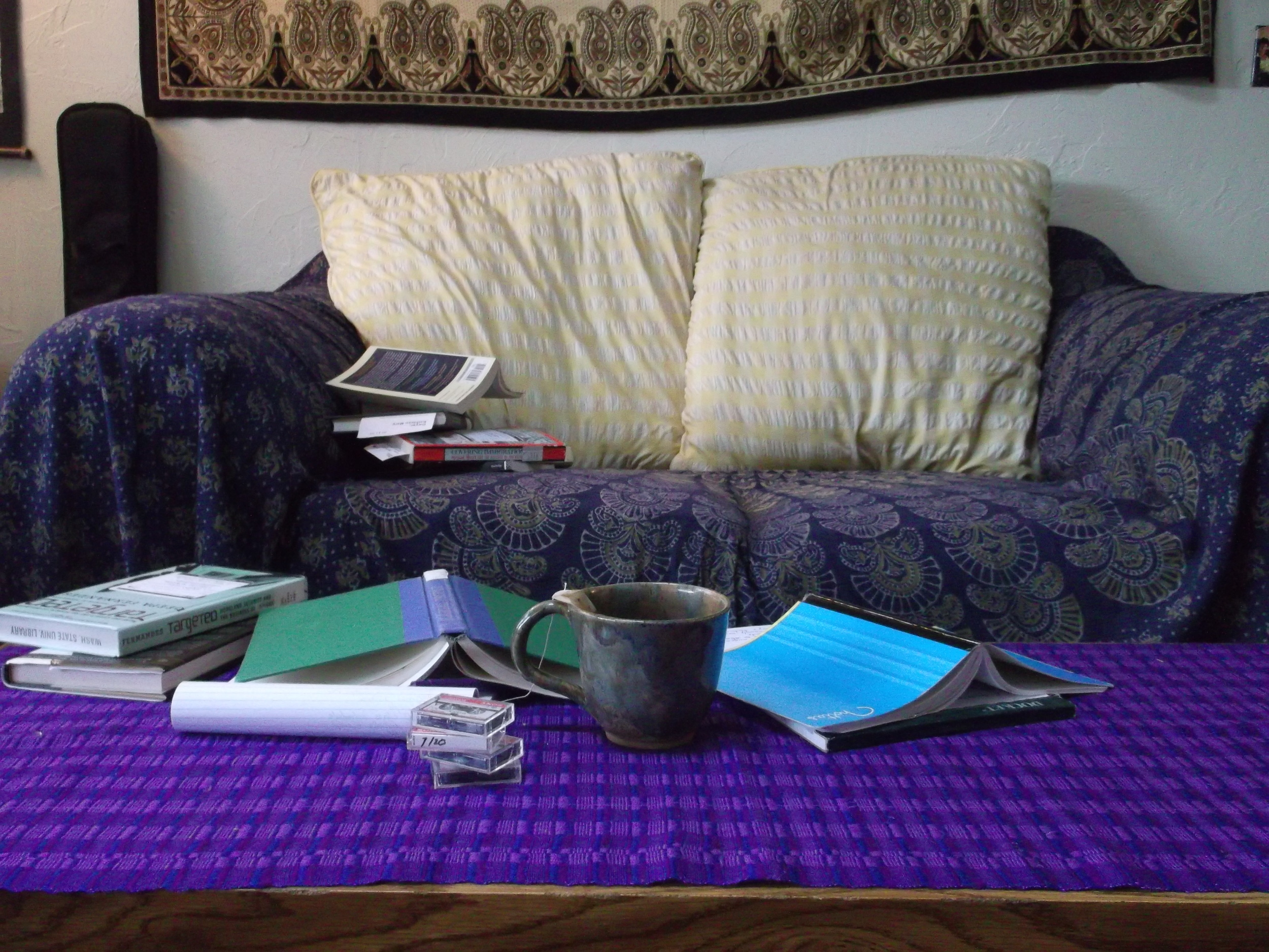 Piles of reading, notes, and tea 2012.
