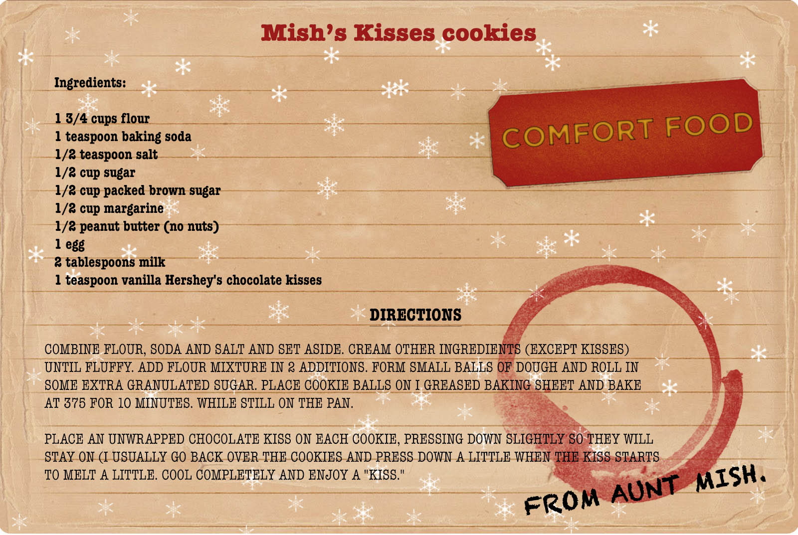College comfort food recipe for Christmas Cookies.