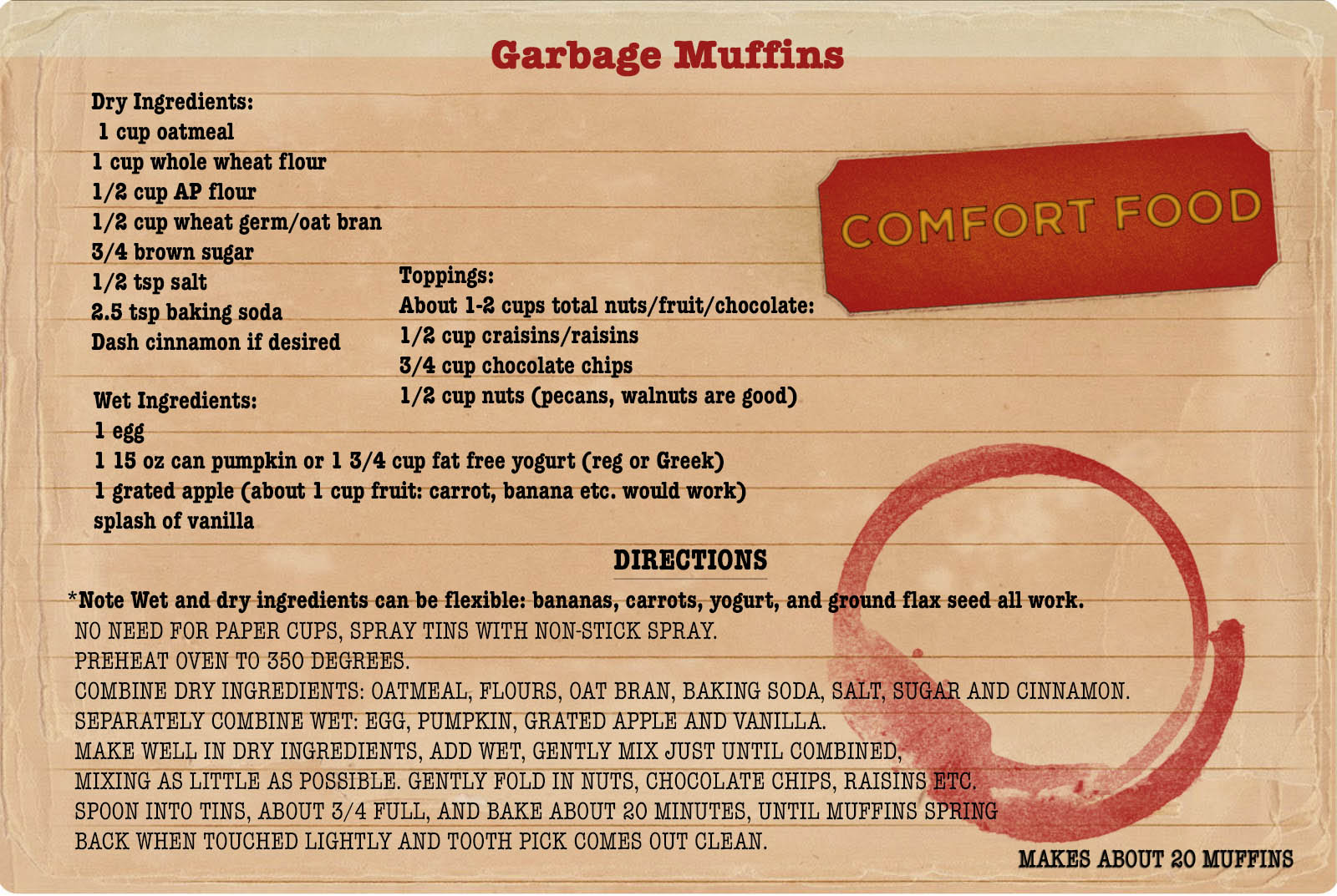 """College Comfort food from My College Advice. Today's recipe: """"garbage muffins"""" by Leah, made with oatmeal, wheat germ, grated carrot, chocolate chips, and whatever else is to hand."""