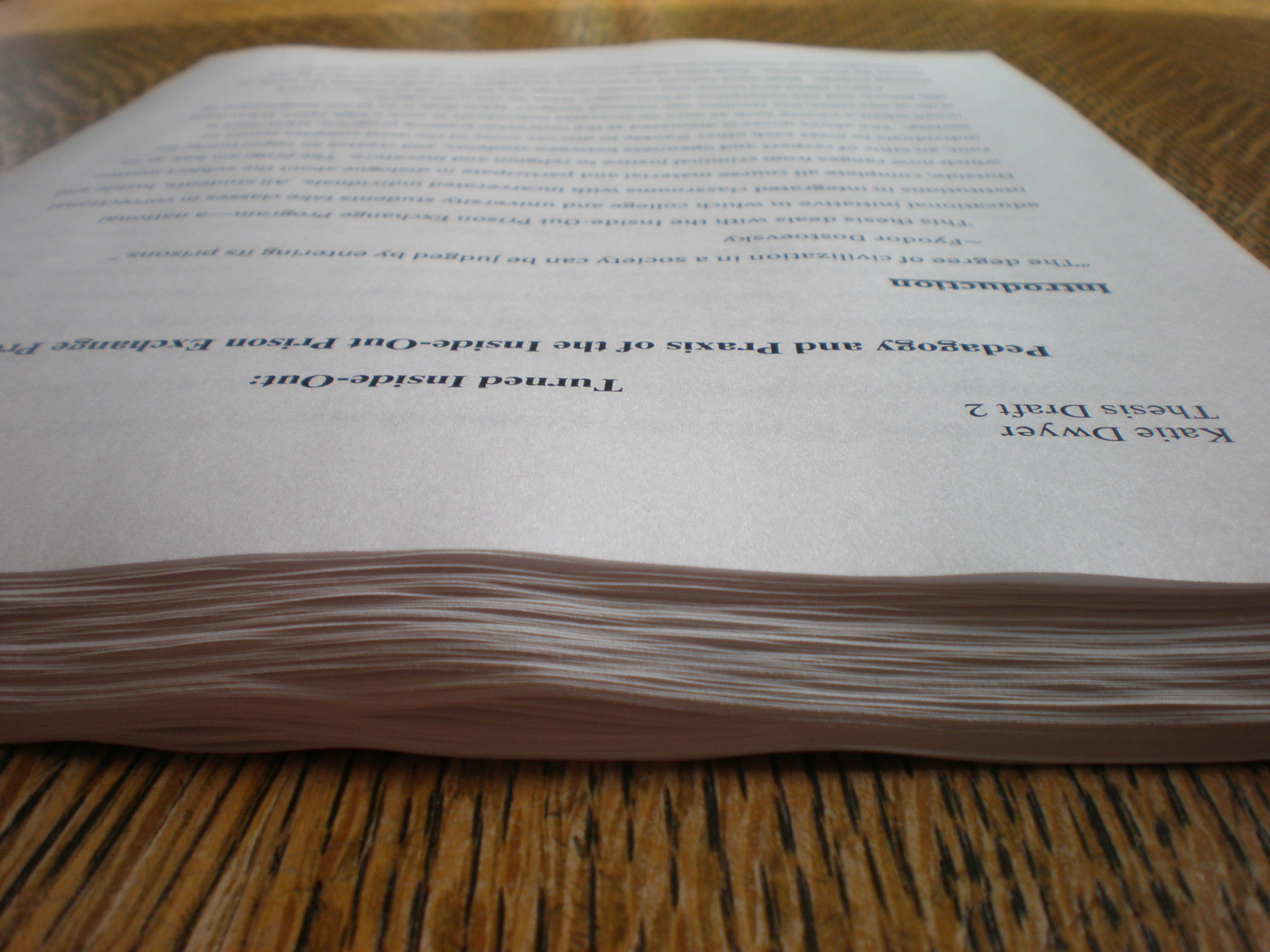 The first fully-printed draft of my undergraduate thesis.