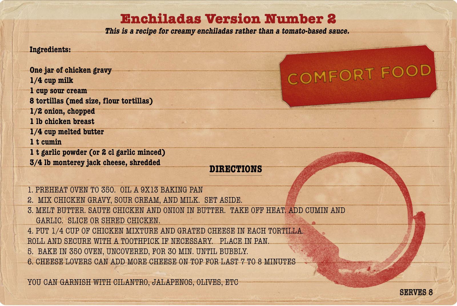 Sunday Dinners: Enchiladas Version 2