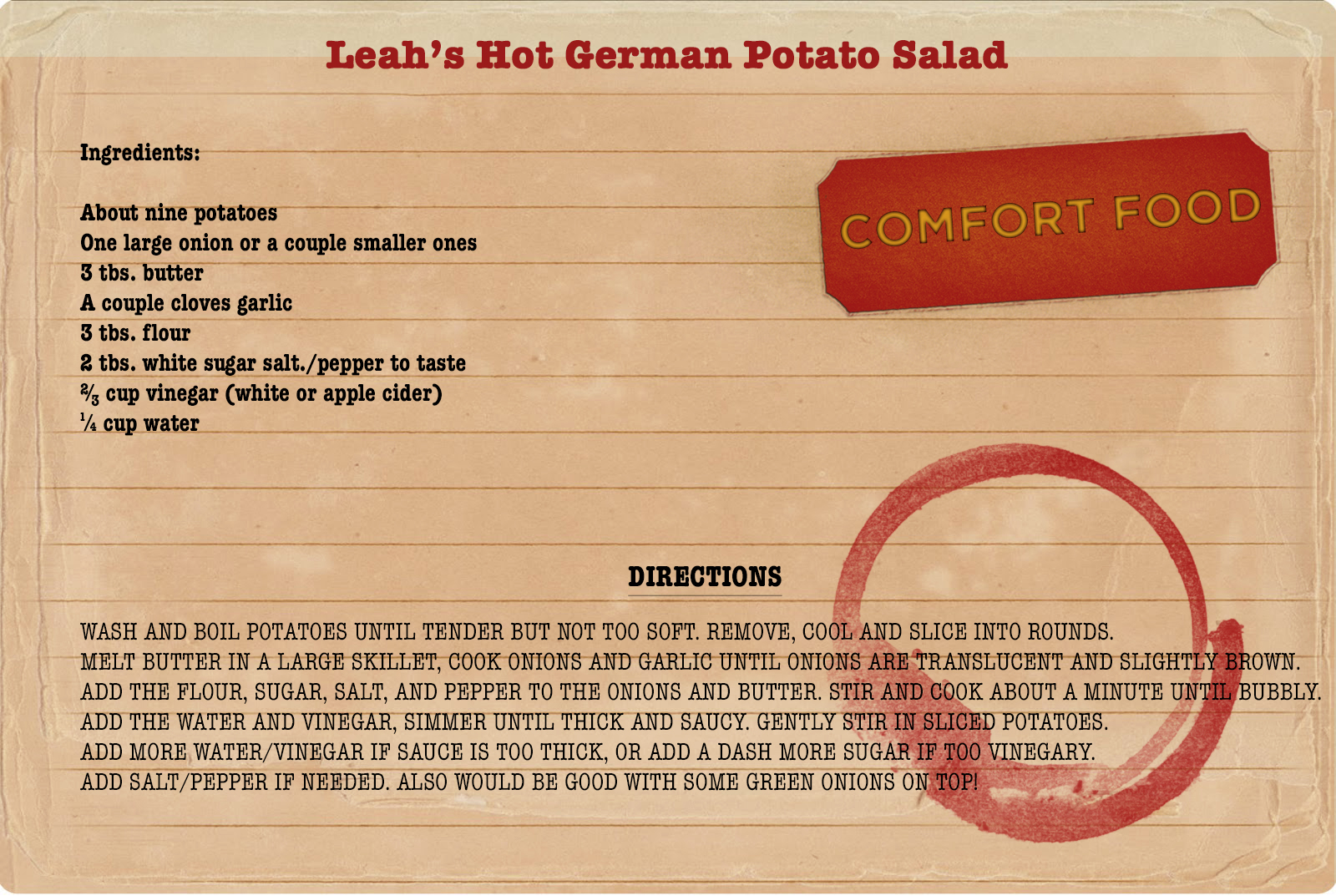 College comfort food--hot German potato salad