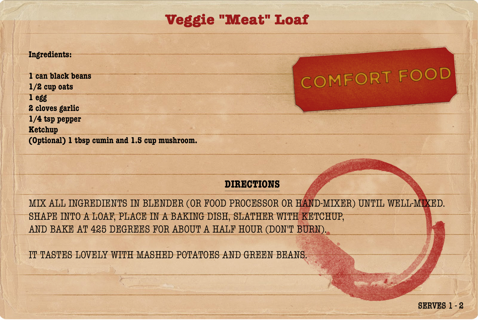 Vegitarian meatloaf recipe for My College Advice