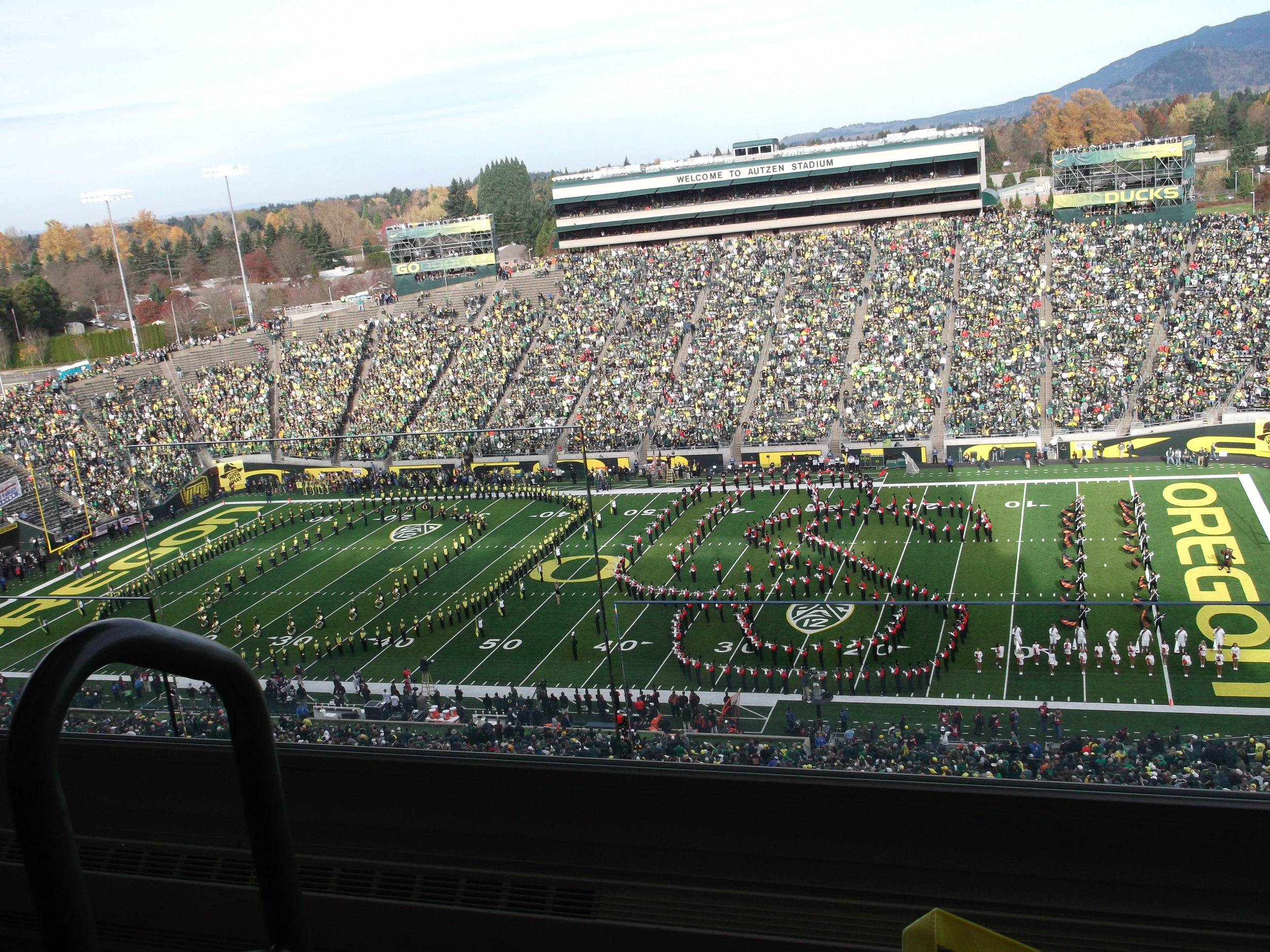 A sport event. Also a marching band. (Fall 2011)