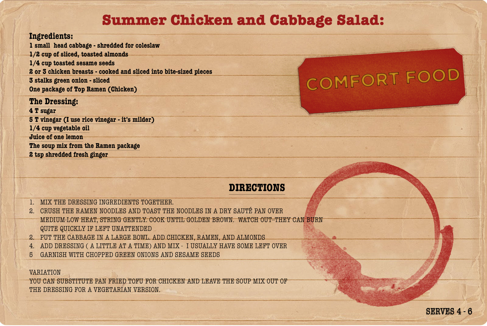 Sunday Dinners Summer Chicken and Cabbage Salad