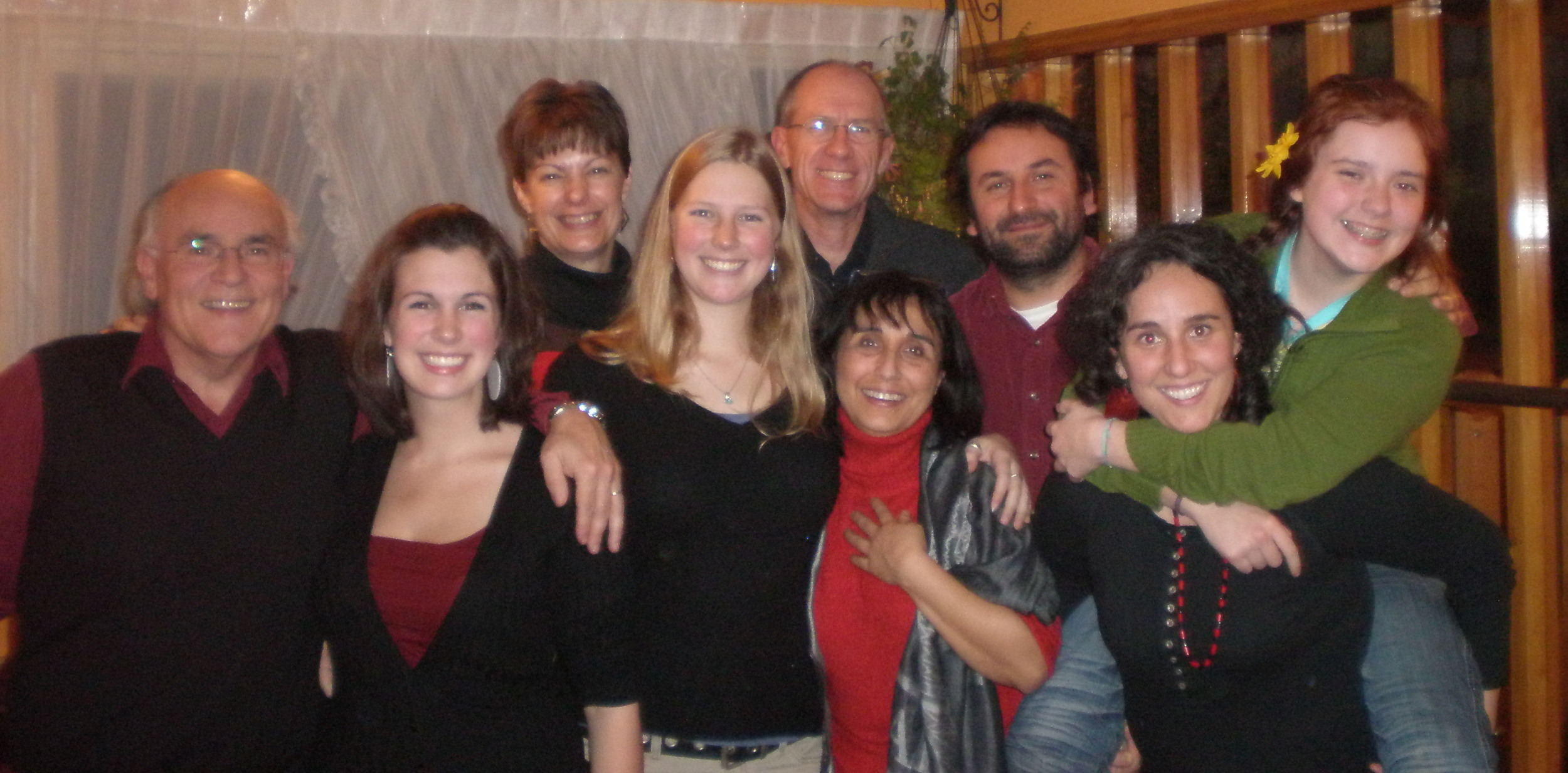 """Studying abroad is a highlight of college. This is me with my Chilean host family and my """"real"""" family, who came to visit."""