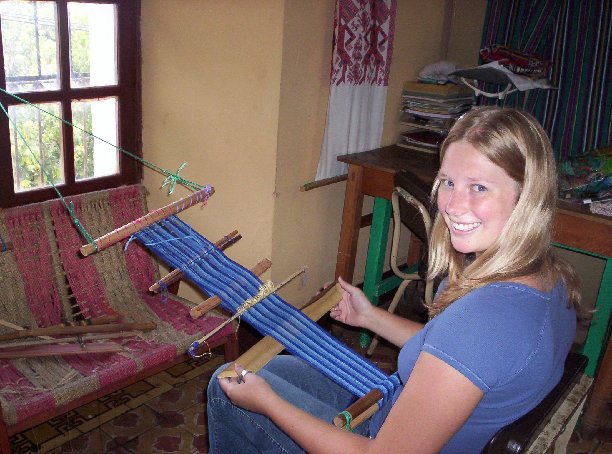 Learning traditional weaving from indigenous Guatemalan women in Quetzaltenango in 2009.