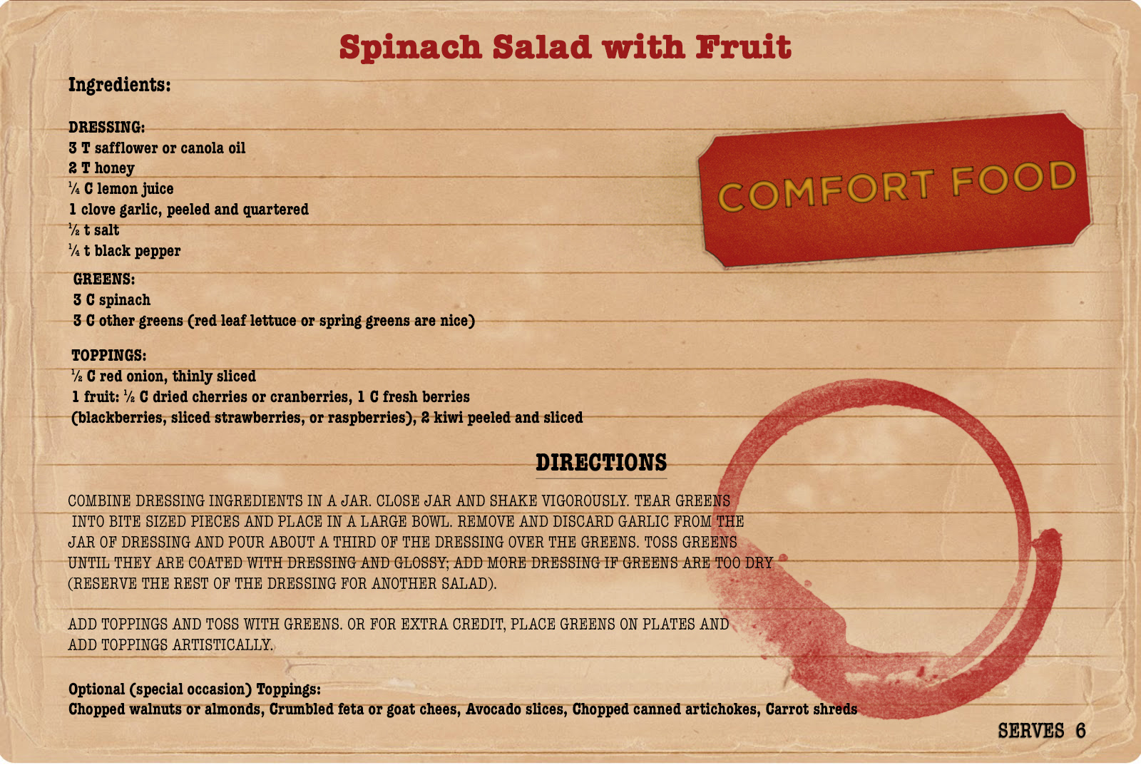 This recipe was adapted from the Colorado Collage Cookbook.