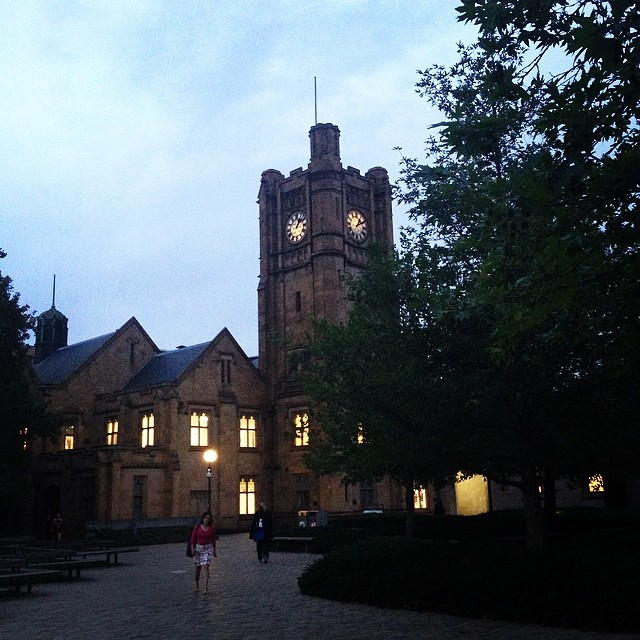 University of Melbourne campus by night