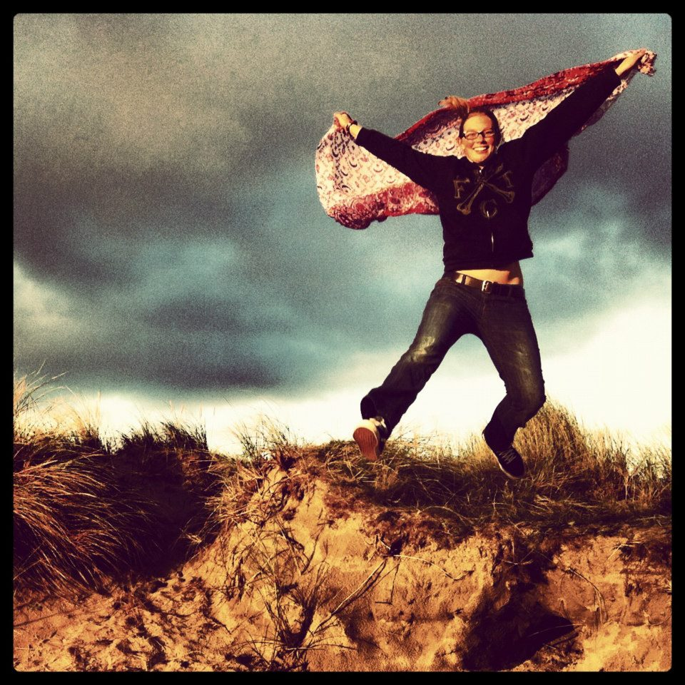 Leaping off a sand dune on Bull Island, near Dublin.