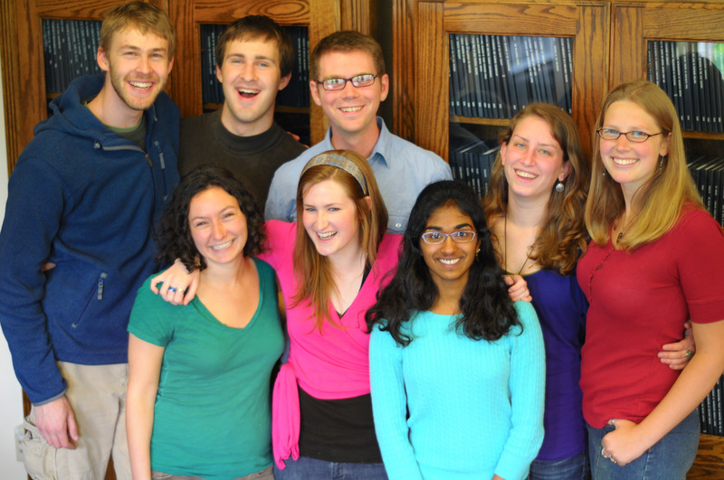 My Honors College friends with the undergraduate thesis bookshelves.