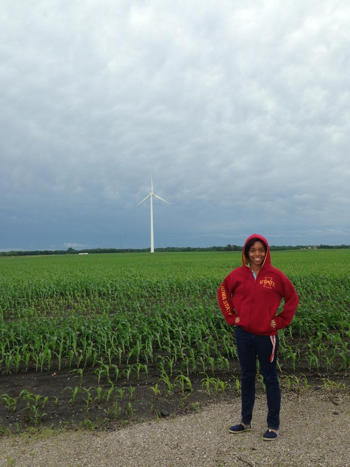 Destenie at her internship in Iowa.