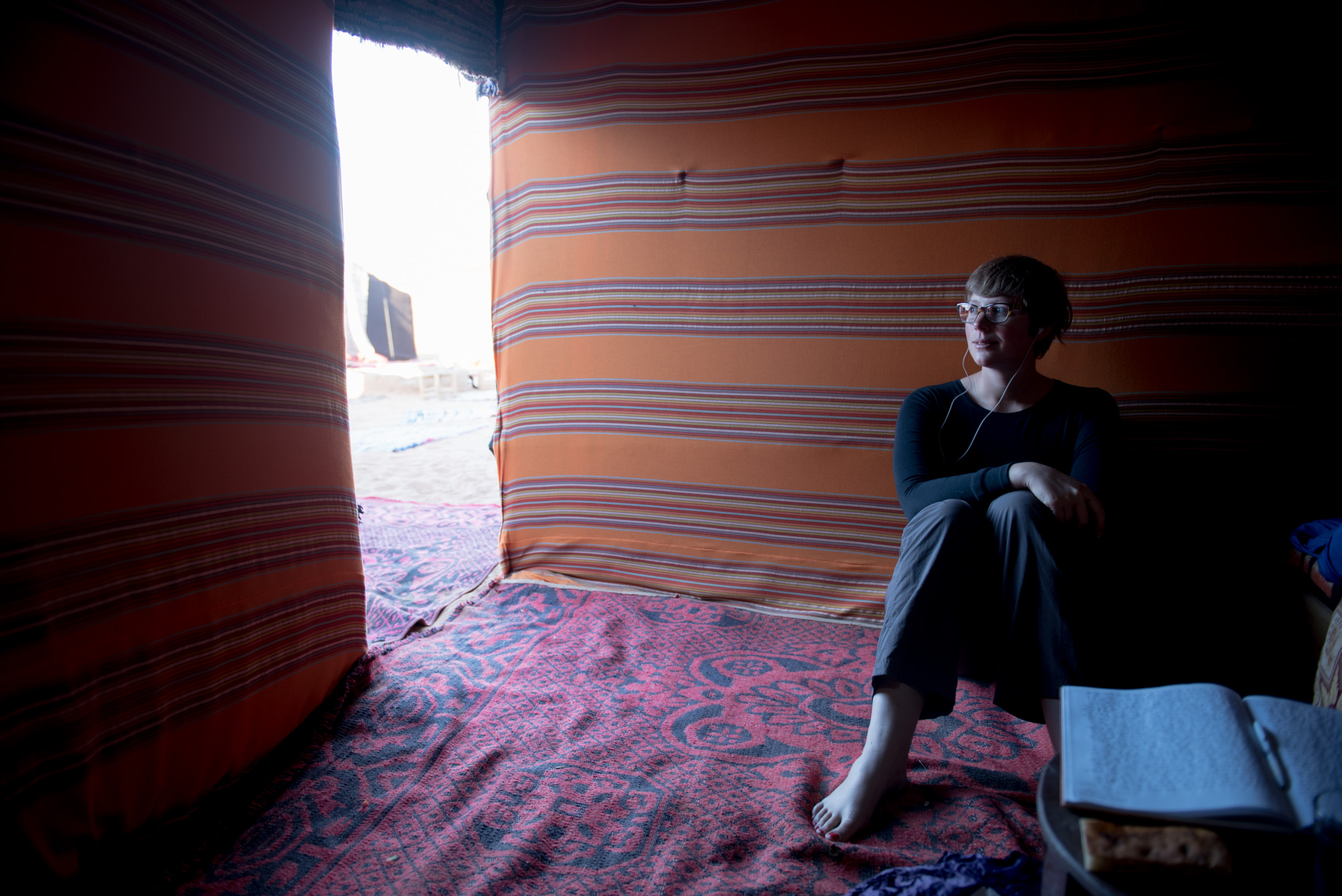 Proof that I love podcasts--me listening in Morocco