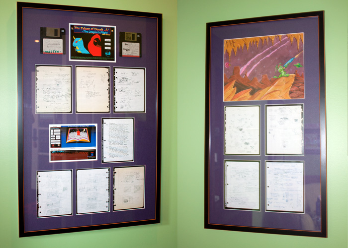 Clifford's old game notes! Frame and displayed proudly!  LEFT:  Dare to Dream     RIGHT:    Jazz Jackrabbit