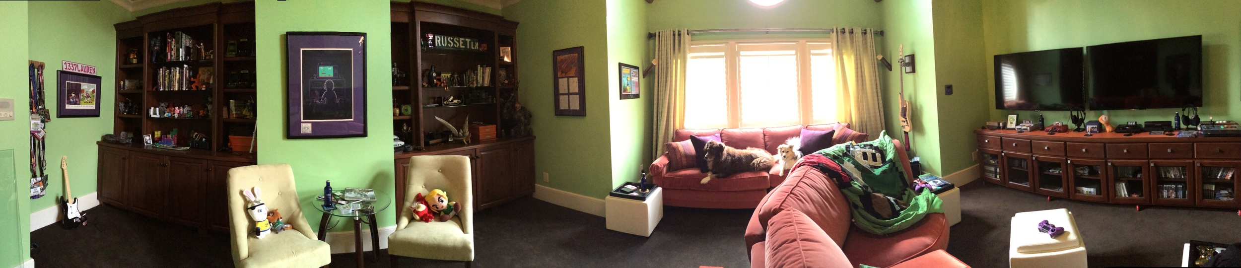 The room is actually square-ish, but looks long in this picture because it's a pano shot. :0)