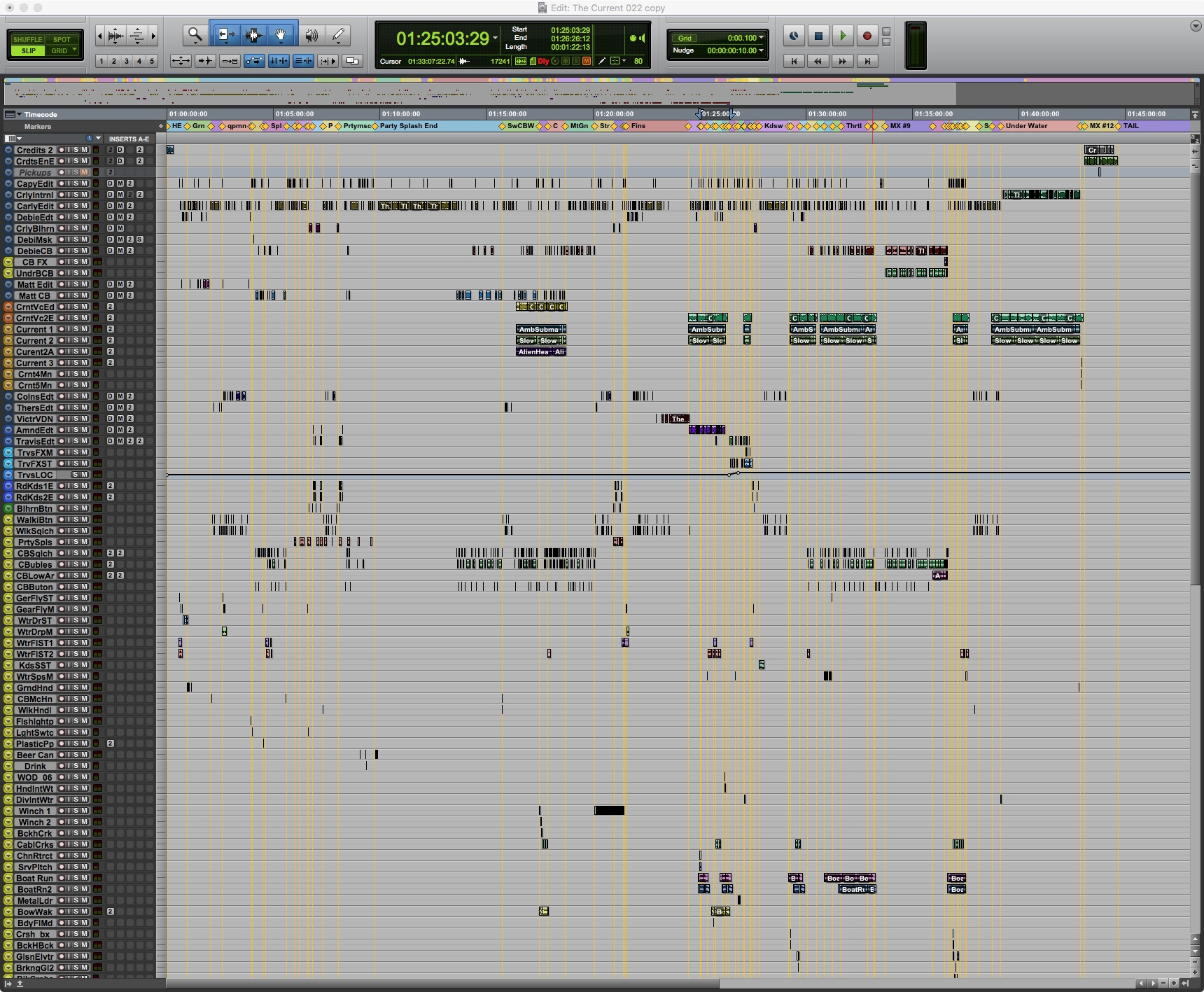Well, that's actually only about half of it. All of the yellow tracks are sound effects. There's another screen full below that, including the music. Dialogue is up top.