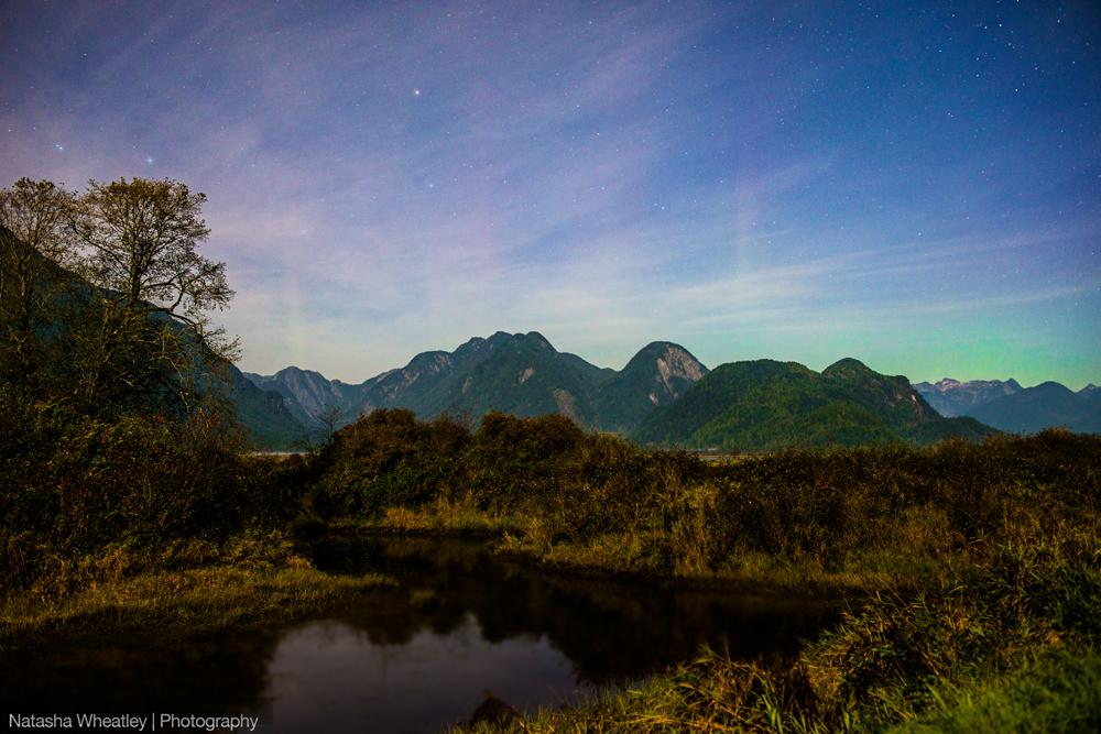Aurora Borealis over Pitt Lake, British Columbia.
