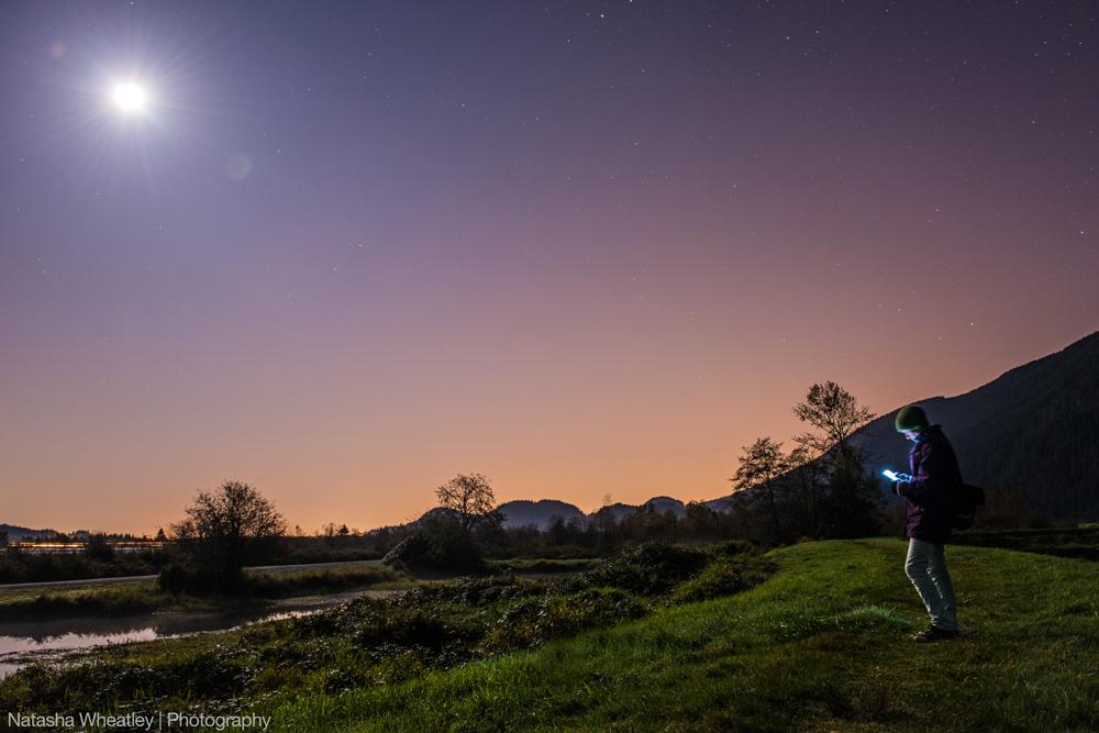 Moonlight reading at Pitt Lake, British Columbia.