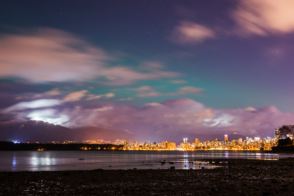 Downtown Vancouver and the North Shore mountains.