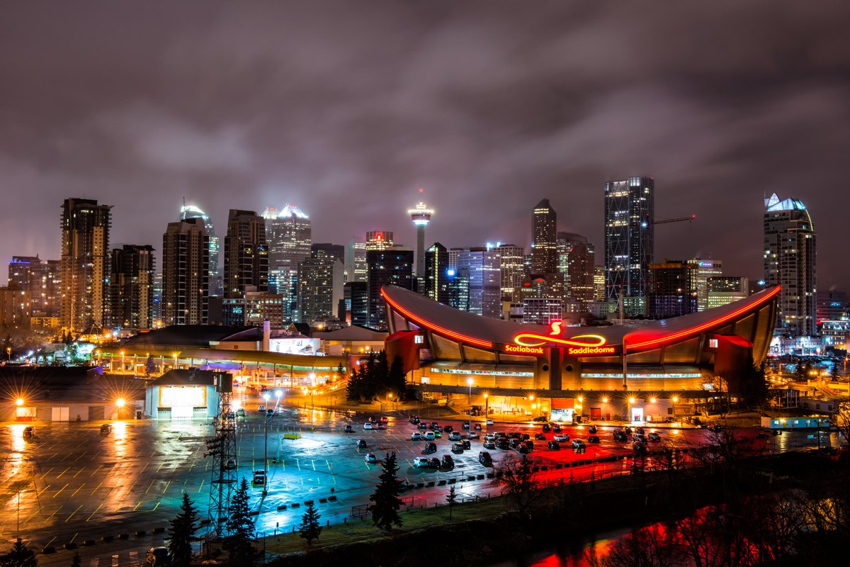 View of downtown Calgary and the Saddledome.