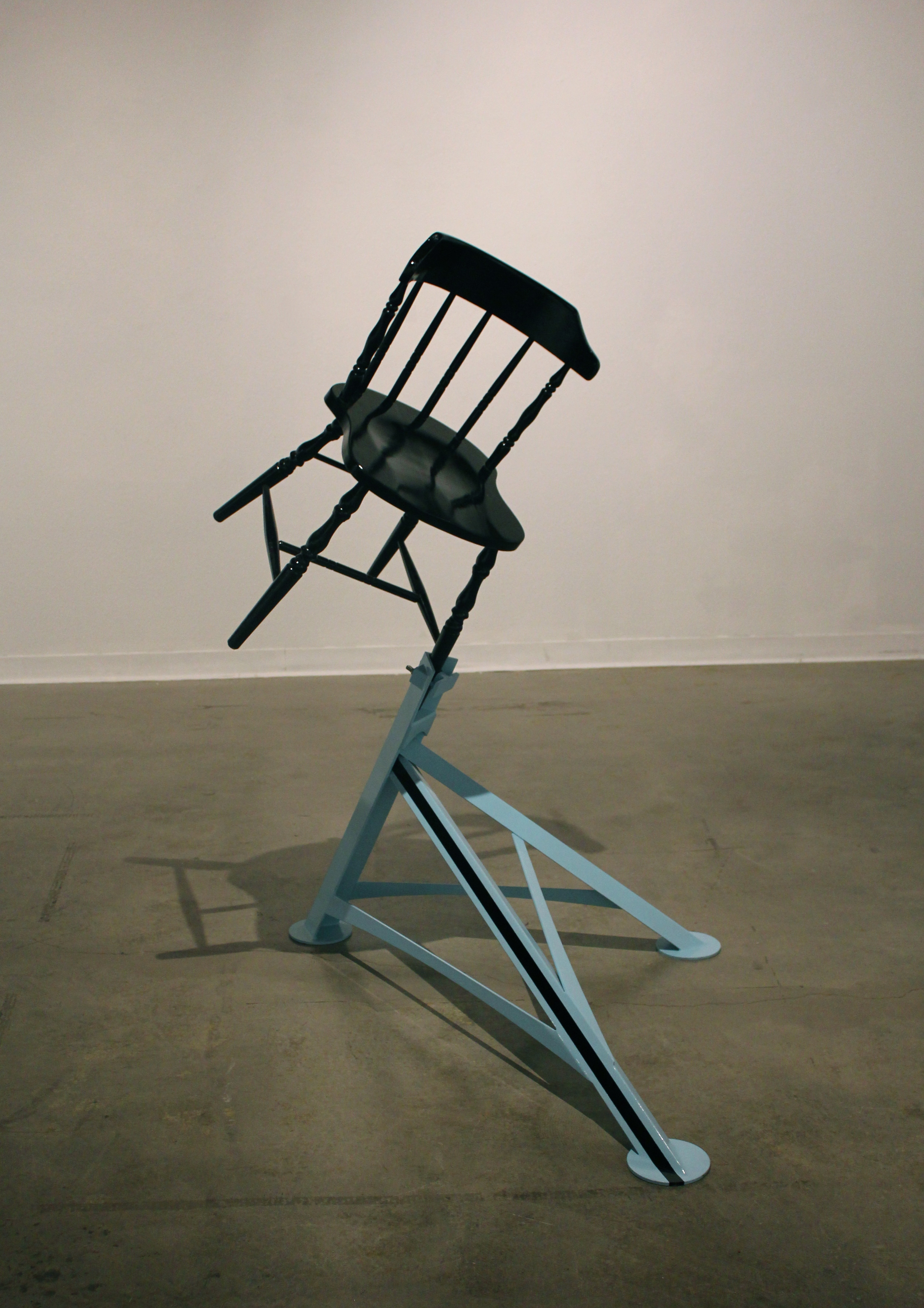 Chair. 2011. Welded and painted Steel, hardware, found chair.