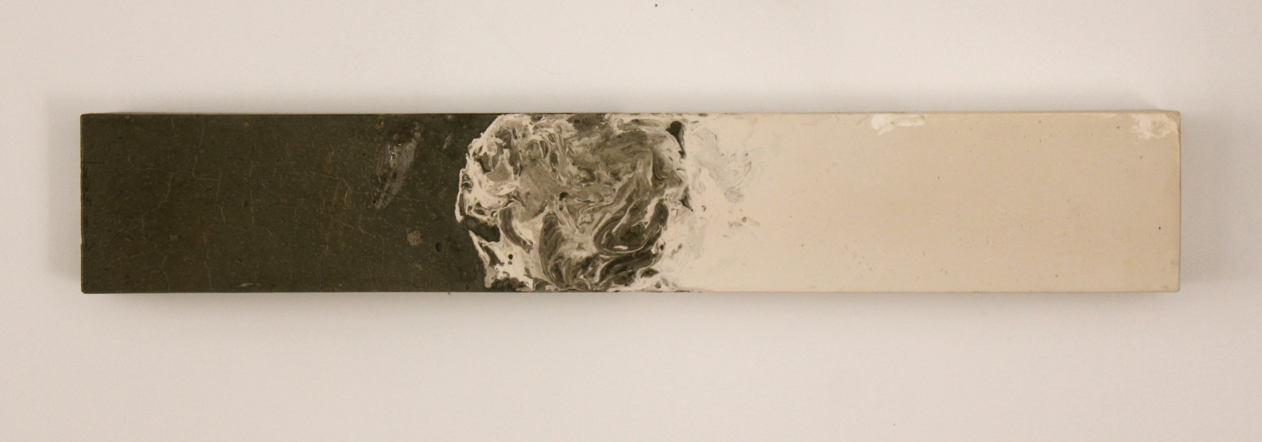 Cement vs. Plaster. Cast cement and plaster, clear finish. 2015. approx. 5x28x4in.