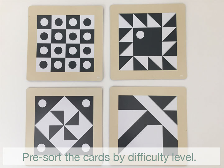 """In general, designs that use the square and circle sides of the cube are going to be easier to visually understand. They also won't need to be rotated correctly like the pieces with diagonals. When it comes to the diagonals especially, predictable patterns are usually easiest, then symmetrical designs, and hardest will be the ones with diagonals that span multiple blocks with unpredictable arrangements. Sorting the cards makes it easier to quickly choose something in the """"just right challenge"""" range. This way, if the child wants to choose their own, you will be ready to give them an assortment of appropriate challenges."""
