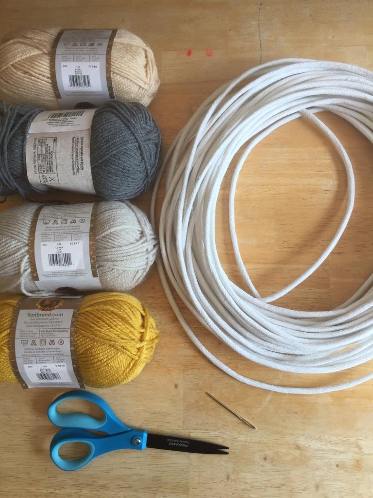 Supplies - cord2-3 colors of yarnyarn needlescissors