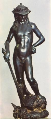 """DONATELLO, David, late 1440–1460. Bronze, 5' 2 1/4"""" high. Museo Nazionale del Bargello, Florence."""