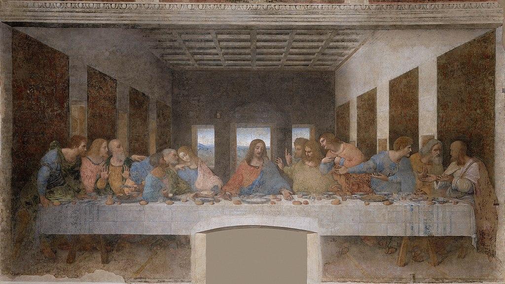 """Leonardo da Vinci, The Last Supper, ca. 1495-1498. Oil and tempera on plaster, 13'9"""" x 29' 10"""". Refectory, Santa Maria delle Grazie, Milan"""