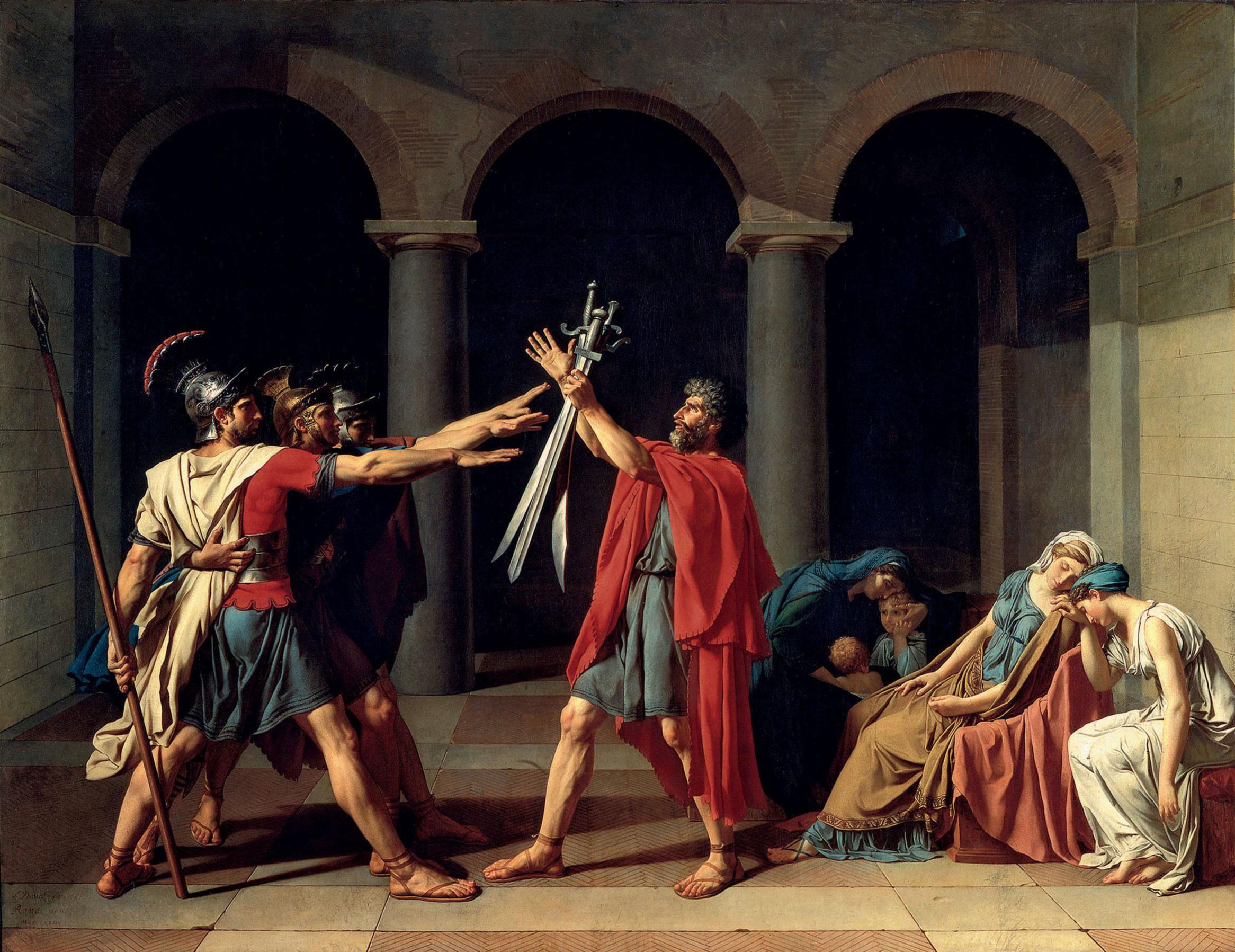 "Jacques-Louis David, Oath of the Horatii, 1784. Oil on canvas, 10' 10"" x 13' 11"". Musee du Louvre, Paris."