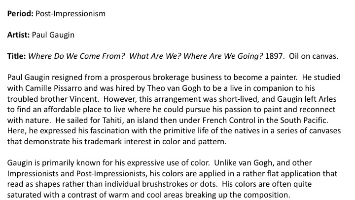 "Kleiner, Fred. ""Impressionism, Post-Impressionism, Symbolism: Europe and America, 1870-1900"" Gardener's Art through the Ages  , Senior Development Editor: Sharon Adams Poore, 14th Edition, Boston*, Clark Baxter, 2013, pp.799-832."